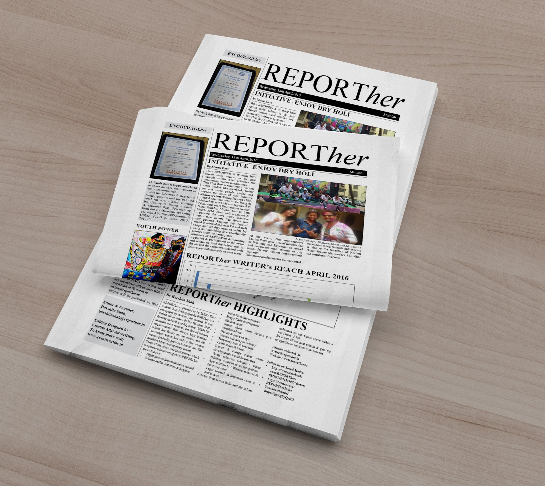 Newspaper Design for Reporther India Newspaper