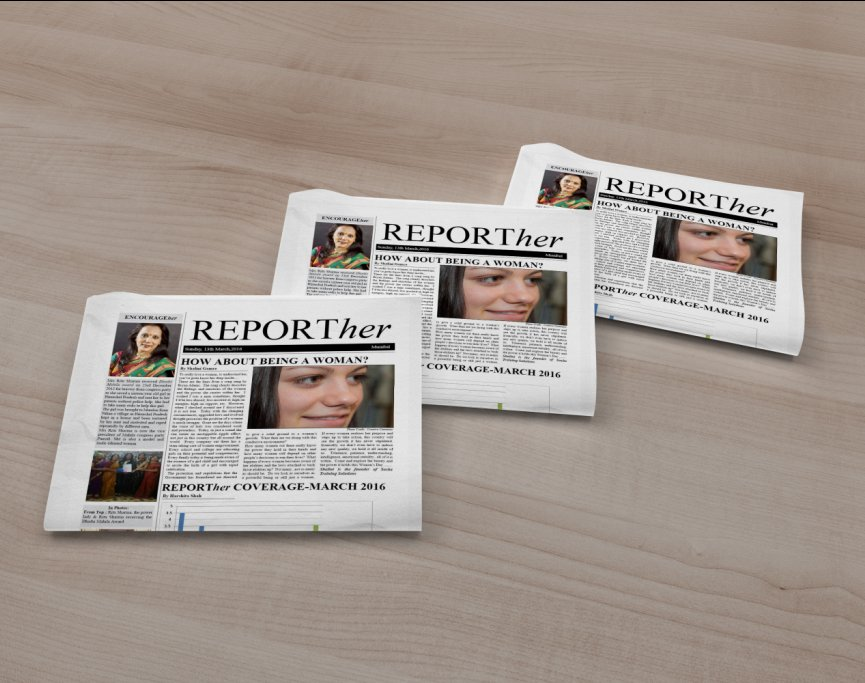 Editorial Design- Newspaper Design for Reporther March 2016 edition
