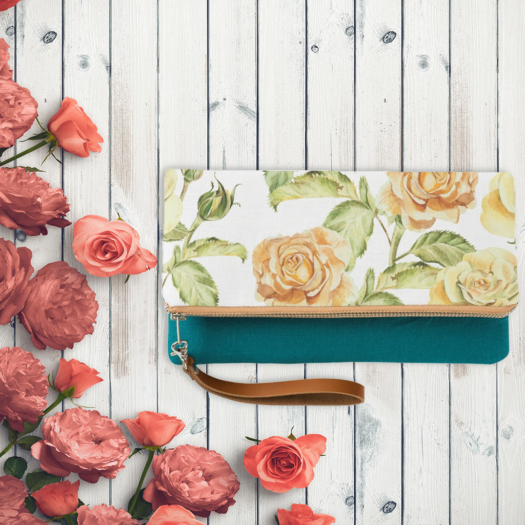 Yellow Teal Floral-Clutch Creative Gifts for Her