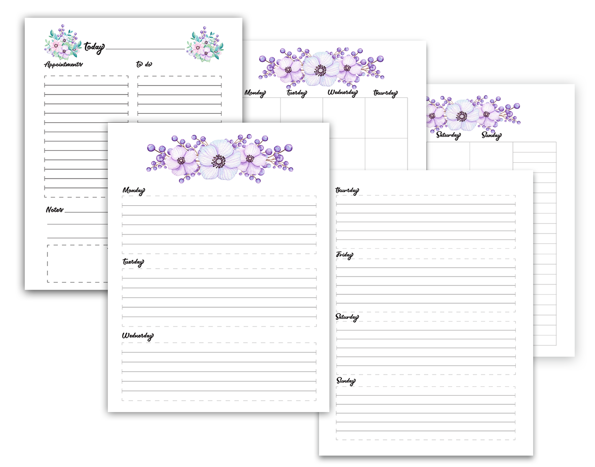 Free-download A4 Floral planner-set